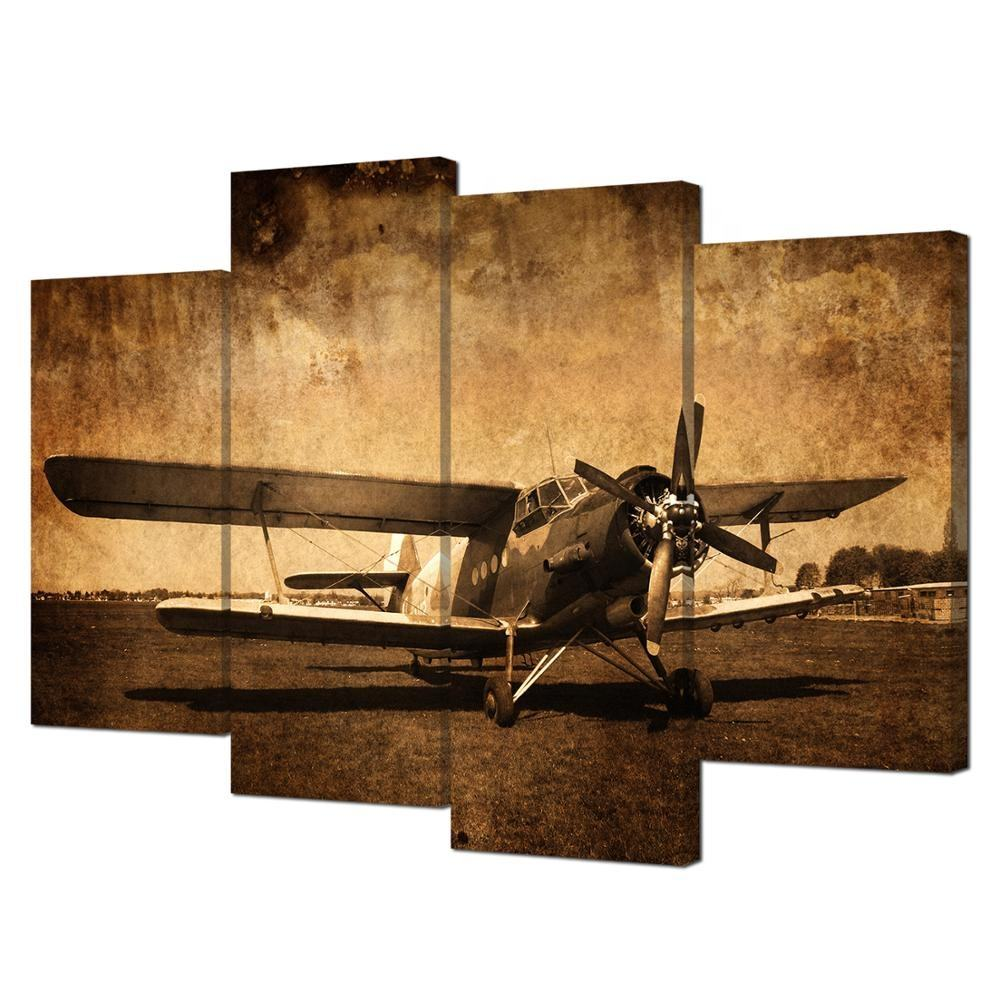 Canvas Prints Vintage Aircraft Art Old Plane Picture Wall Decor Paintings Retro Military Aviation Airplane Fighter Wall Art