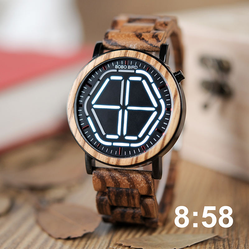 bobo bird China supplier LED Design Unique Digital Wood Watch Men with Night Vision