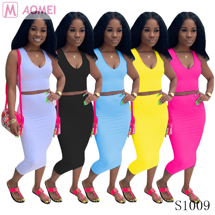 S1009 Casual solid sleeveless V-neck two piece skirt set for women summer