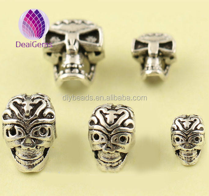 925 sterling silver 10mm skull beads,tibetan silver spacer beads