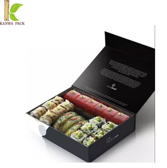 Luxury black sushi box print own design cardboard sushi packaging