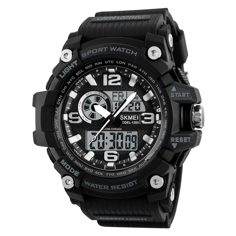 SKMEI 1283 Men Quartz Digital Wrist Watch 스포츠 Alarm 2 시간 엘 빛 카운트 다운 Chrono Date 50 메터 방수 Watches