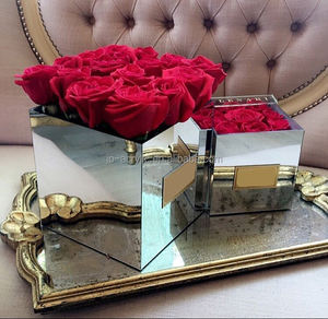 Silver square preserved and fresh rose display acrylic Mirror Flower Box