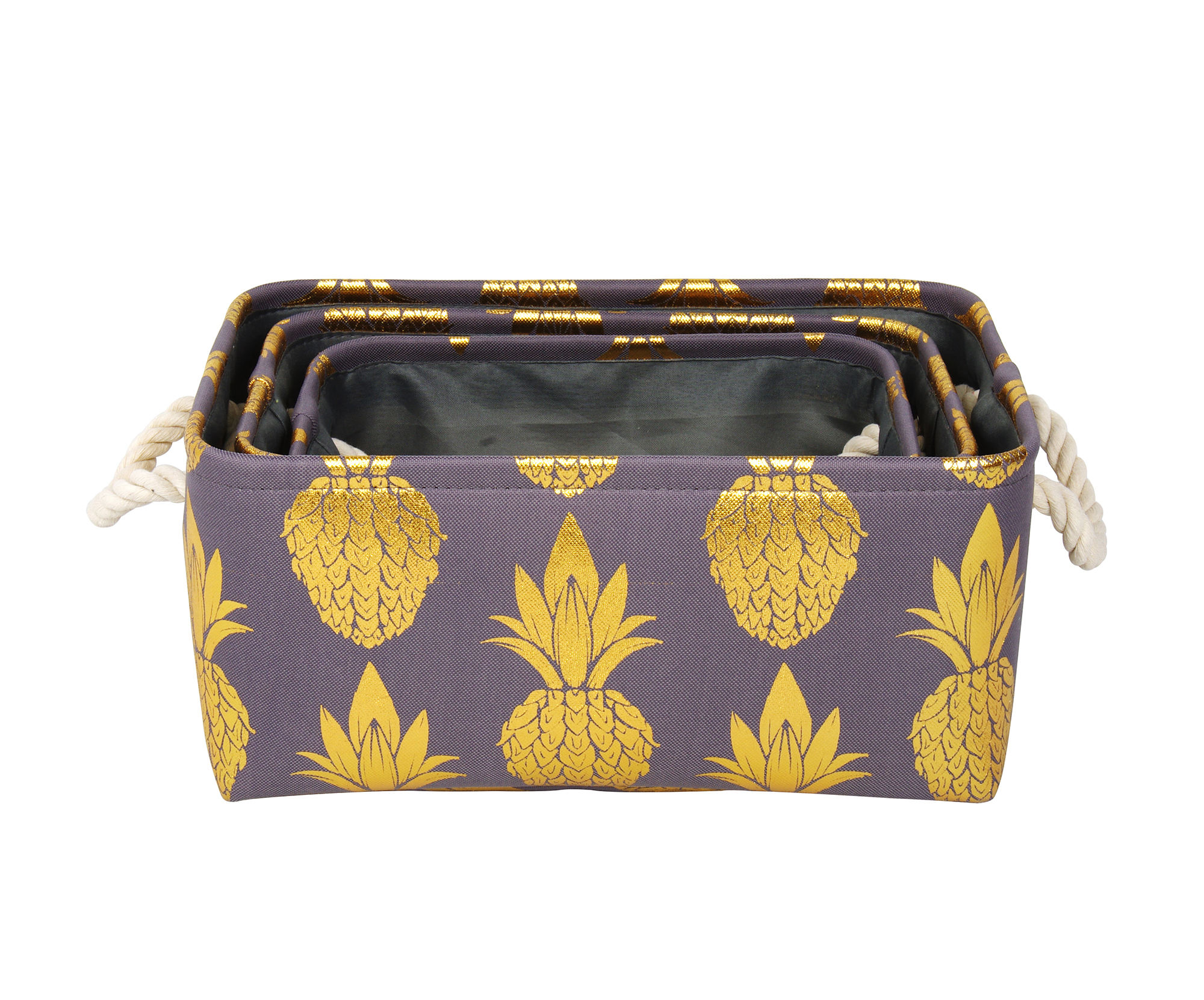 Foldable perfume clear key outdoor fabric makeup kids folding mini geometry golden pineapple printing storage box