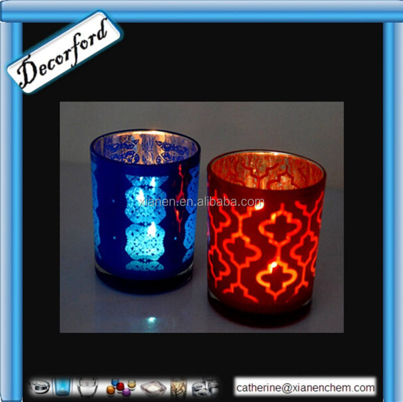 Hot Sale blue colored round mercury glass votives wholesale 0102
