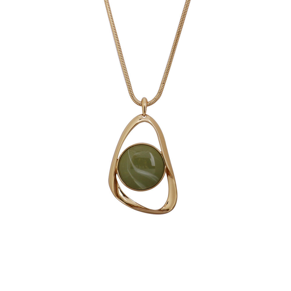 Irregular Gold Plated Green Acrylic Pendant Necklace Jewelry