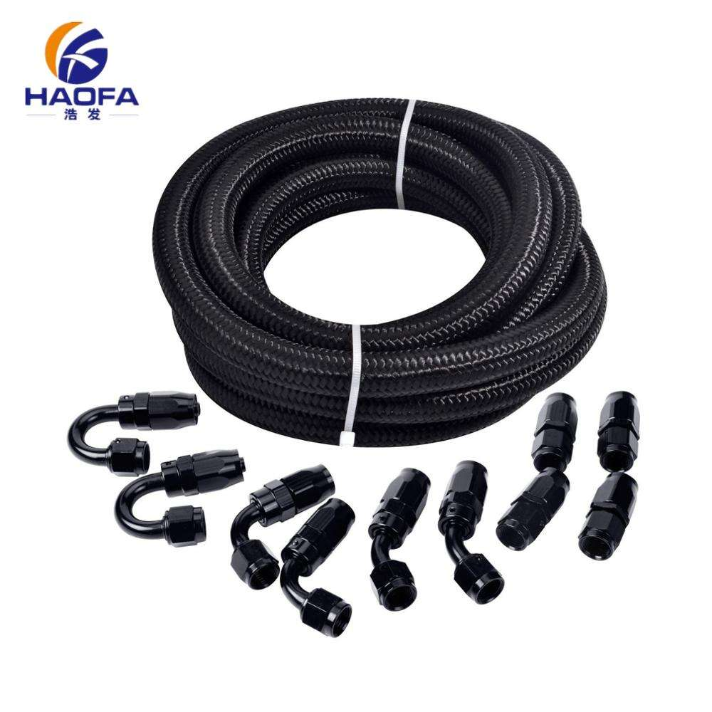 an6 synthetic rubber hose 5 meters and 10 aluminum hose ends connector suit assembly transmission hydraulic hose swivel end