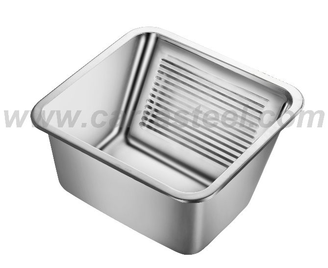 stainless steel laundry sink with washing board inside