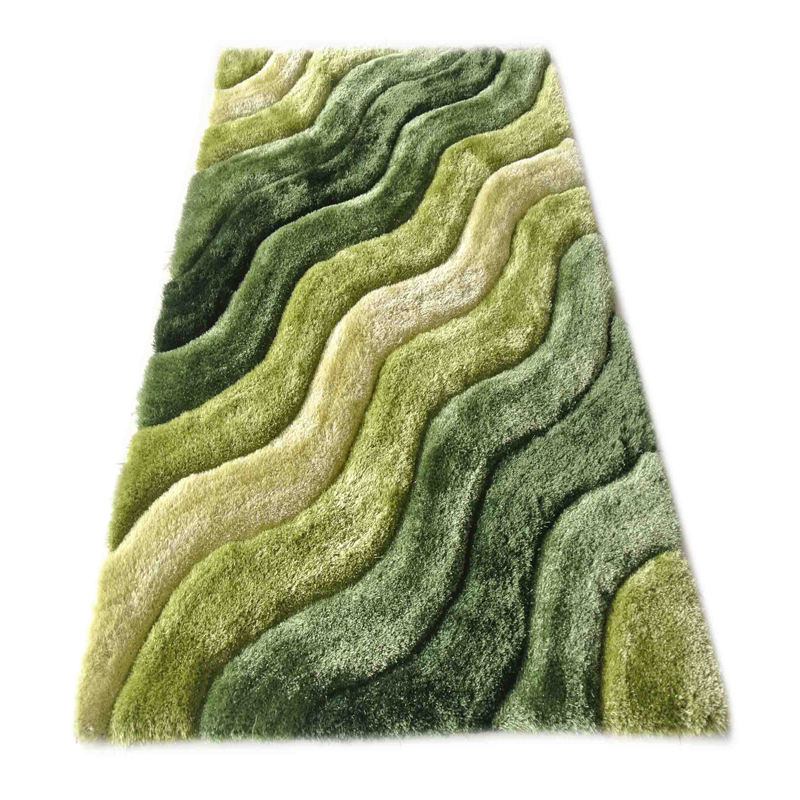 Chinois tufté shaggy polyester à poils longs 3d conception shaggy tapis