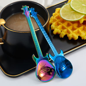 Creative Stainless Steel Colorful Guitar Shaped Coffee Ice Cream Spoon