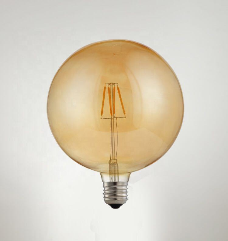 E26 LED 125V dimmable A60 bulbs amber glass nickel copper screw base