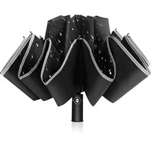 Cheap Price 12k Windproof Safety Reflective Umbrella 3 Folding Automatic Smart Reverse Umbrella Promotional