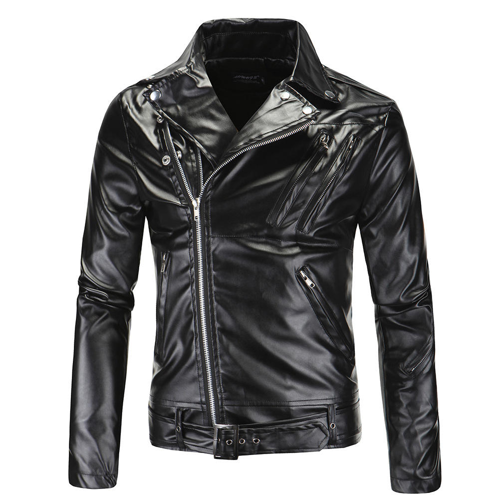 Custom Men's fashion lapels Slim zipper pu motorcycle leather jacket