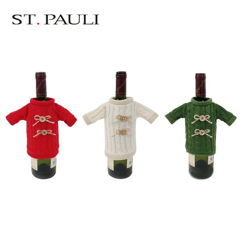 Уникальные украшения идея свитер дизайн Рождество крышку бутылки вина для пользовательских