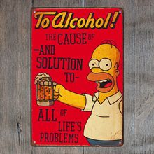 To Alcohol Duff Simpsons Vintage tin metal sign Art Painting Bar Pub Cafe Garage Hotel House Wall Decor Metal Poster