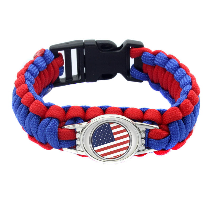 Fan supplies World Cup football team flag umbrella rope woven bracelet life saving bracelet