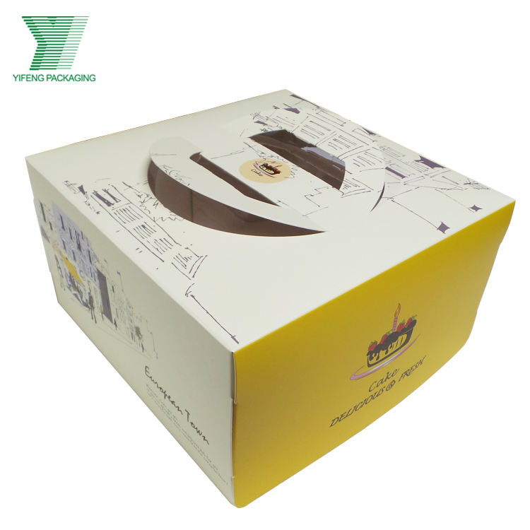 Promotional handmade shining paper food grade packaging birthday cake box