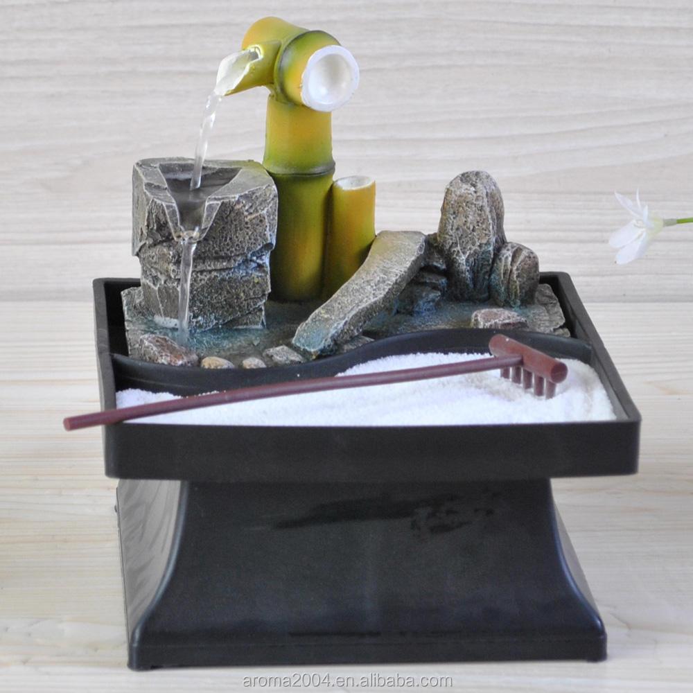 Resina decoración de bambú fuente de agua Mesa Zen colección
