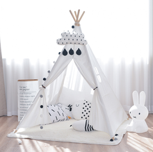 Four Poles Kids Tent Toy Teepee Children Princess Play Tent Cotton Canvas Tipi for Baby Room Ins Hot
