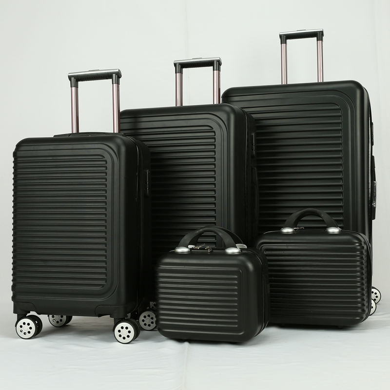 New Design cheap 5pcs set black ABS Material Trolley Bags plastic hard case Travelling Luggage With TSA Lock