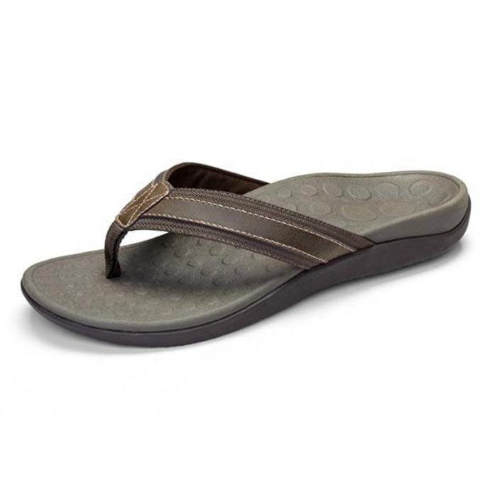 Chinese Supplier Custom Made Men's Arch Support Rubber Thong sandals hot sale Leather Flip flop sandals mens