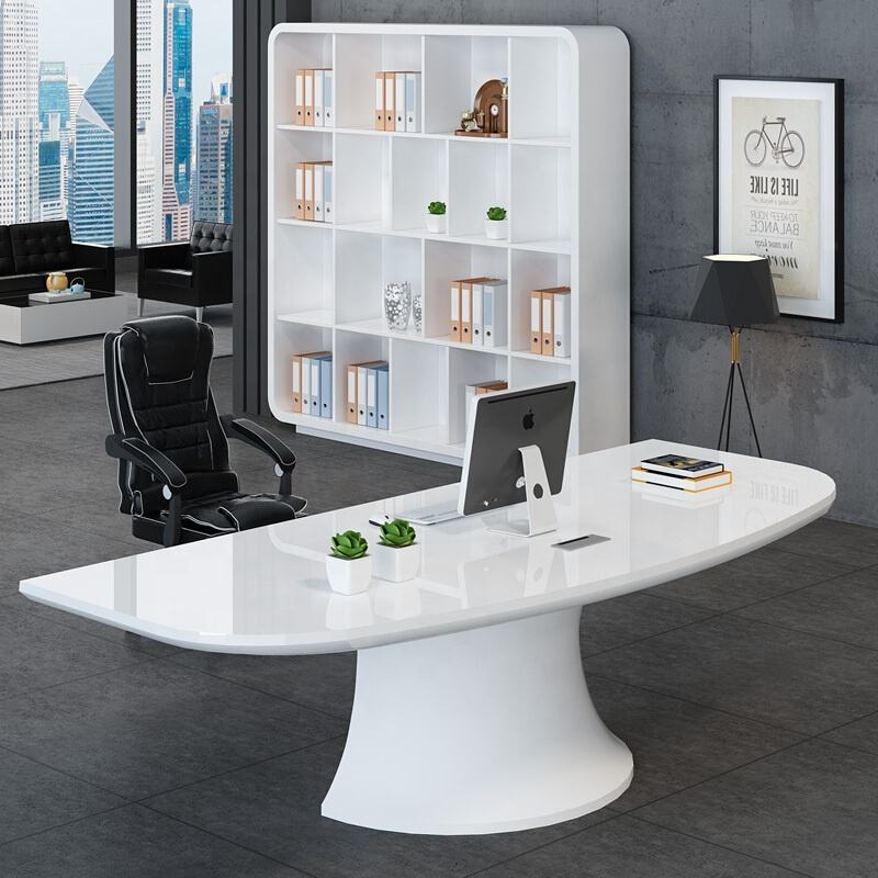 Elegant Modern Office Table Design Solid Surface CEO Executive Desk white color