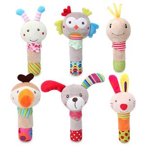 BBSky Stuffed Animal Baby Soft Plush Hand Rattle Squeaker Stick toy