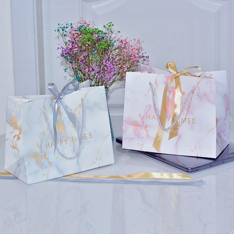 Luxury makeup holographic pack shopping gift small paper bag with ribbon
