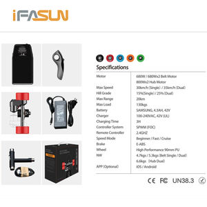 iFasun cheap good quality adult e longboard 800W dual hub motors DIY electric skateboard kit