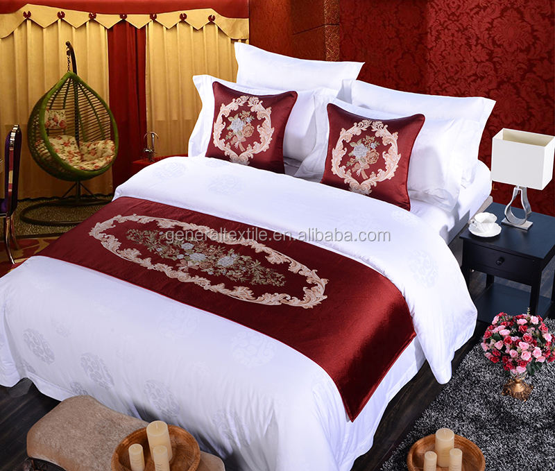 elegant and luxury red premium bed runner and cushions