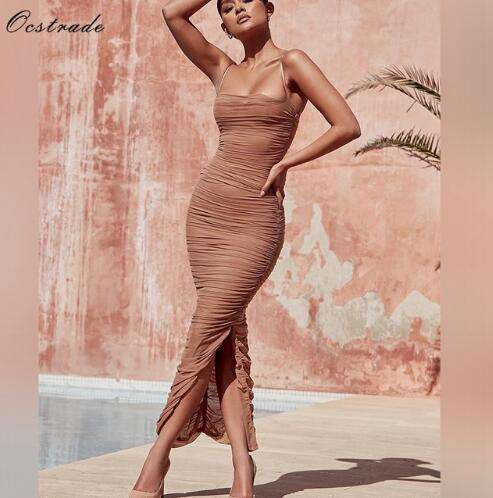 High Quality Strappy Tan womens romper maxi dress with Mesh 2018