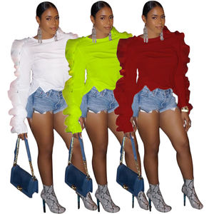 High Quality Women Clothes Brief Fashion O-Neck Ruffles Long Sleeve T-shirts
