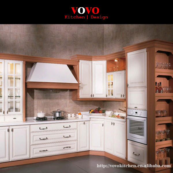 Teak wood kitchen cabinet factory direct supply