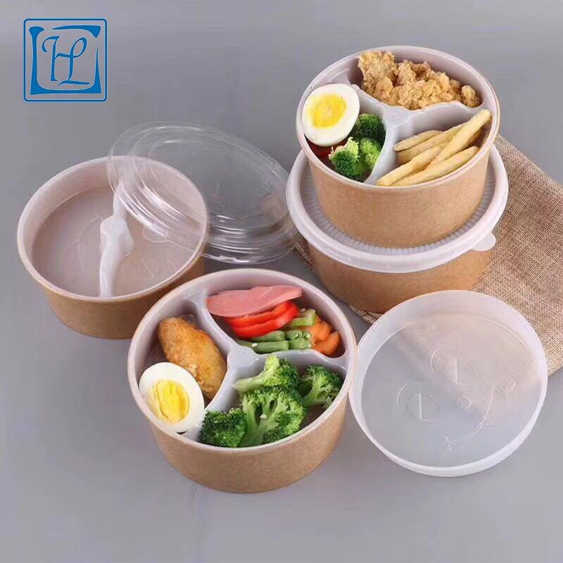 PLA filmed disposable kraft paper rice bowl with lid