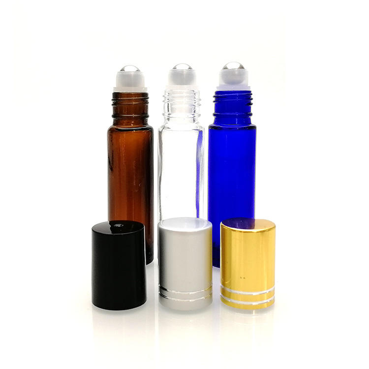 essential oil perfume 5ml 8ml 10ml 10 ml clear blue amber glass roll on bottles with roller stainless steel ball