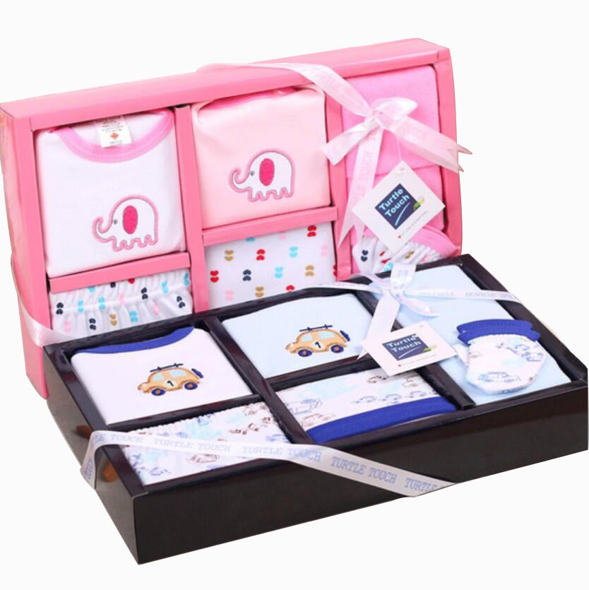 China manufactory baby newborn clothing gift set 8pcs set box 100% cotton knitted baby wear