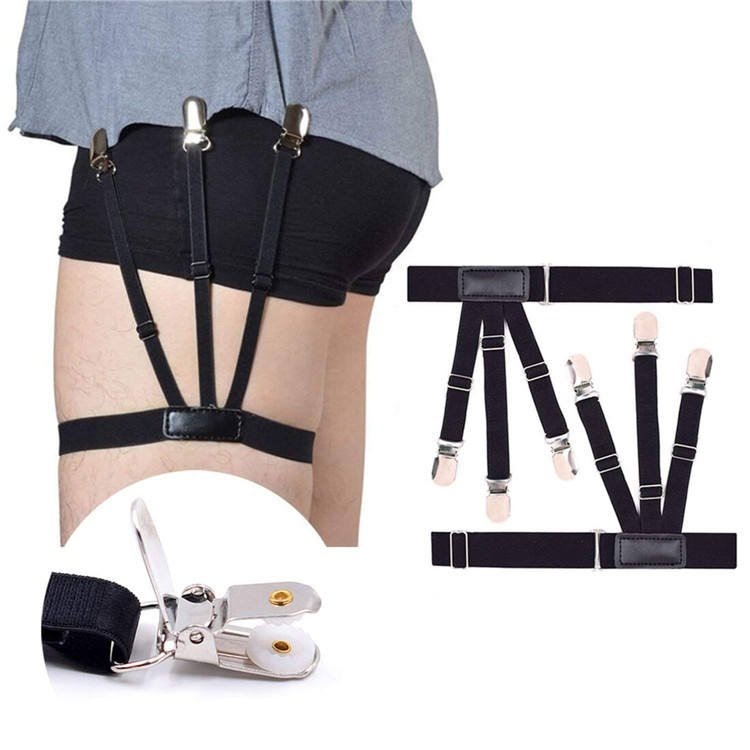 Mens Shirt Stays Shirt Holder Straps Adjustable Elastic Suspenders Garters with Non-slip Locking Clamps