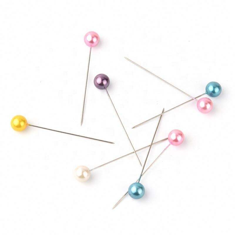 Round Colored Sewing Plastic Pearl Head Pins Sewing With Head Push Pearl Long Straight Pins