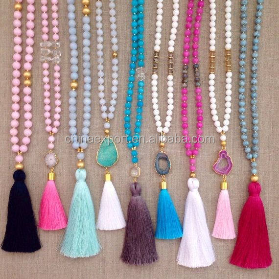 2018 Fashion Mala Bead Knotted Druzy Necklace With Tassel