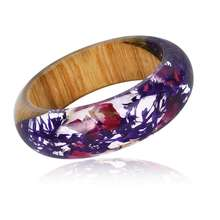 women dried flower accessories wood resin bracelet