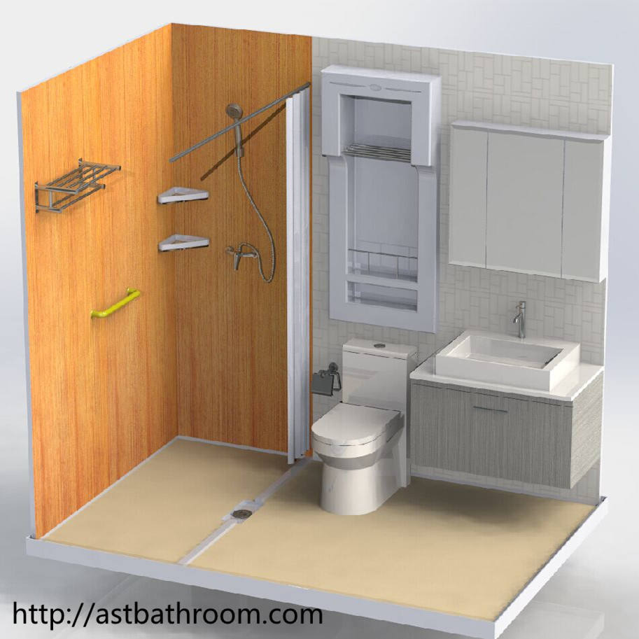 Modified container prefab bathroom with good quality door partition