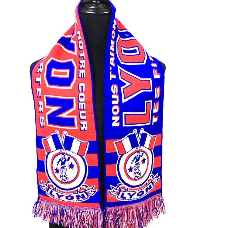 WholesalePromotional Winter Jacquard Sport Custom Football Soccer Acrylic Knit Fan Scarf Pass BSCI In LIGUE 1