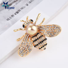 2019 new animal yellow queen honey bee brooch pins rhinestone gold Crystal bumble Gifts For Women Men Jewelry