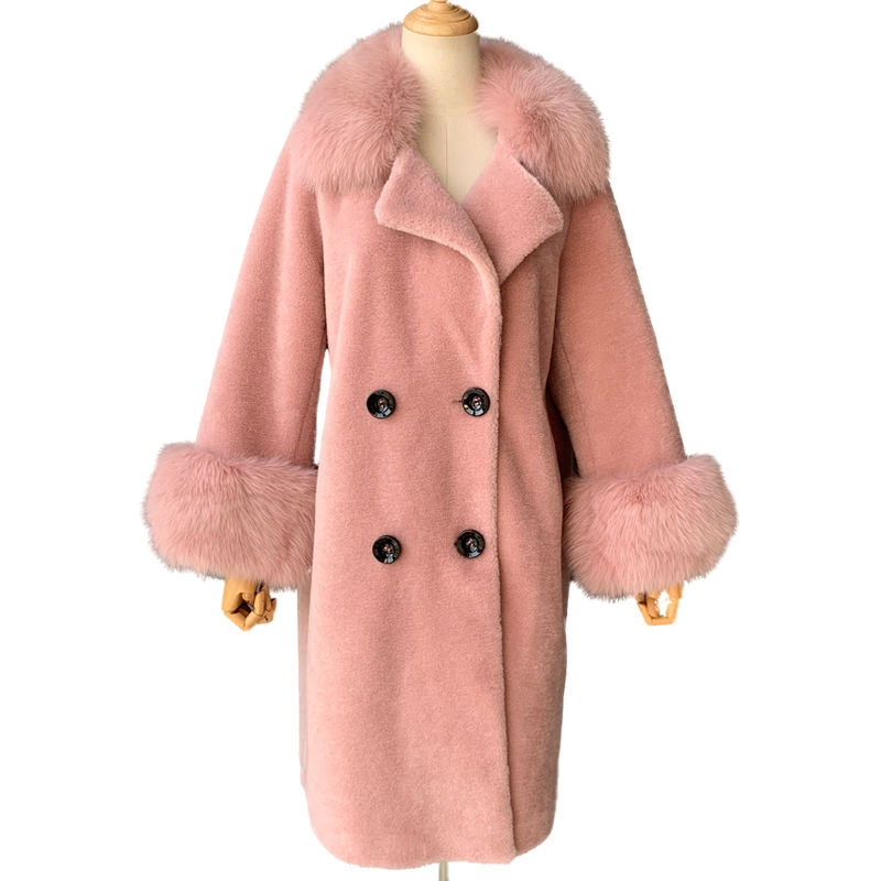 Hot Sale New Arrival Real Fox Fur Collar Coat Thick Warm Pink Color Winter 2019 Korean Clothes Women