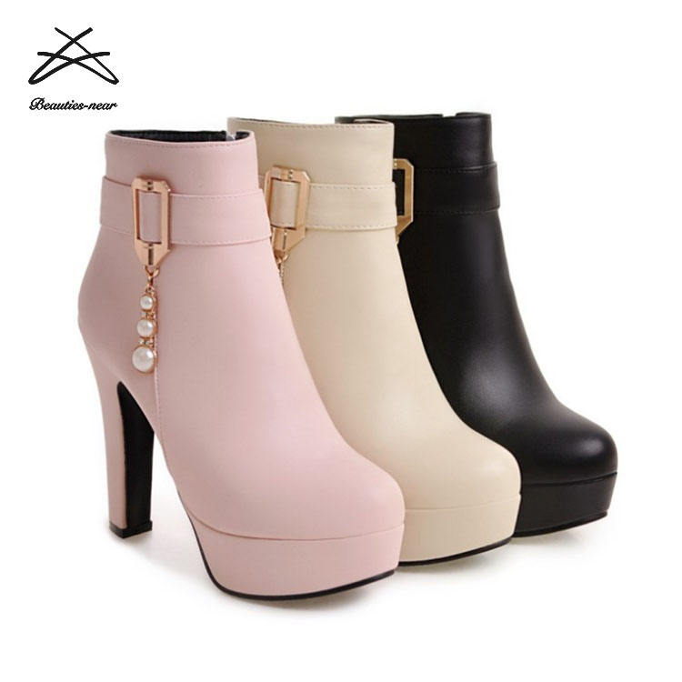 2018 Hot fashion boots cheap chunky heel women ankle boots for sale