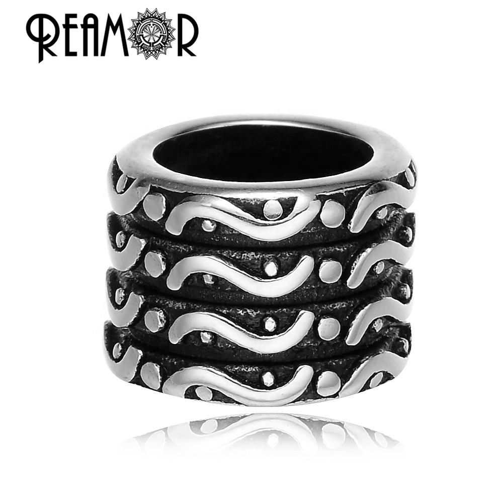 REAMOR 316L Stainless Steel Big Hole 8mm 5mm Antique Tibetan Viking X pattern Barrel Skull Head Beads Metal Beads for Jewelry