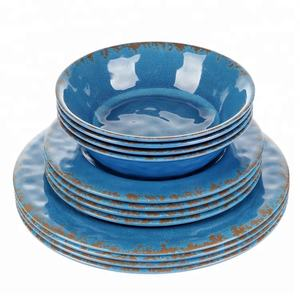 Classic & Rustic wholesale customized melamine blue set dinner service