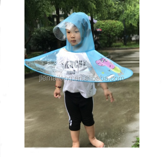Hand free UFO hat umbrella Hot sale new design waterproof Windproof material PVC kid creative print umbrella rain hat raincoat