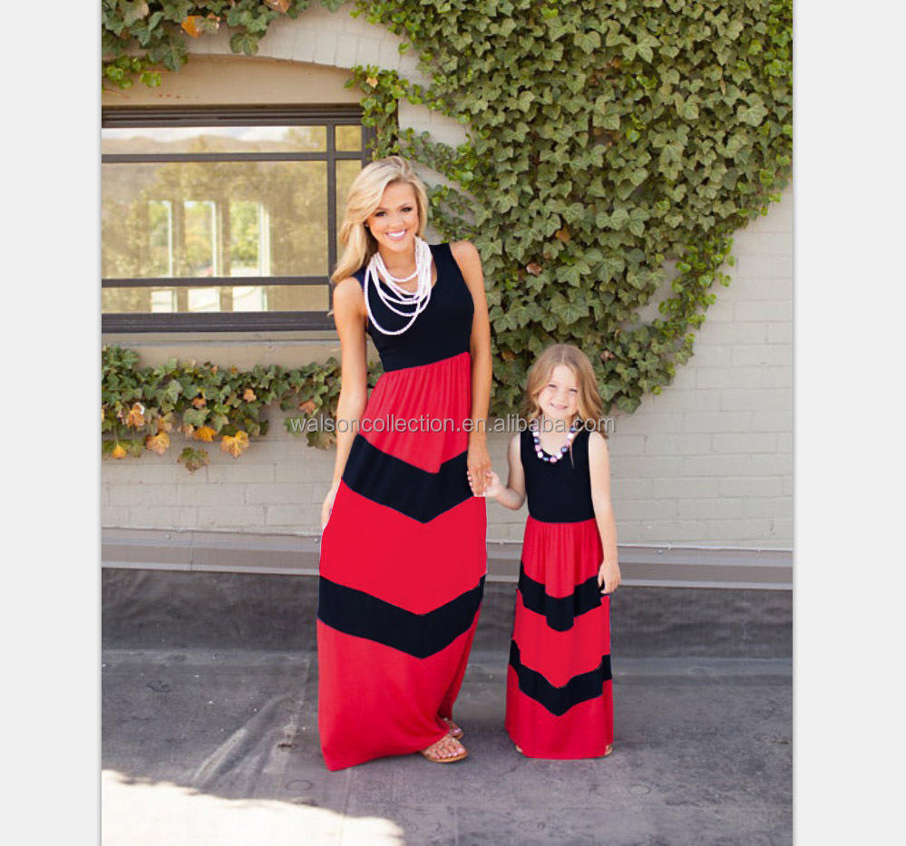 2017 Walson Fashion Womens Matching mother and daughter clothes mom mommy me dress family look
