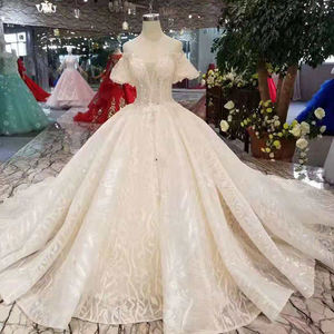 LSS206 champagne lace wedding dresses 2019 short flare sleeves sexy v-back wedding gown elegant 11.11 Globel Shopping Festival